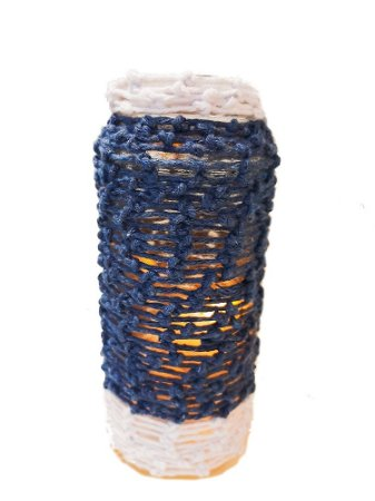 Porta-vela de vidro ecológico Azul