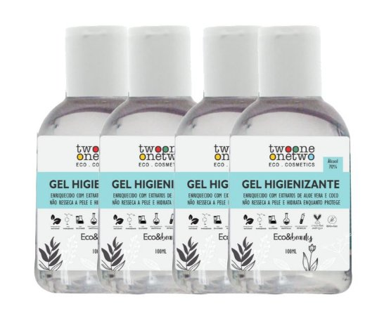 Kit de 4 unidades de Álcool Gel Higienizante para mãos Aloe Vera e Coco, Twoone Onetwo, 100g