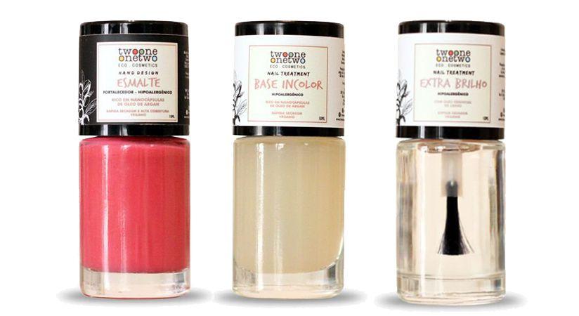 Kit Peach Pink: Esmalte Hipoalergênico Vegano Fortalecedor + Base Incolor + Extra Brilho Twoone Onetwo