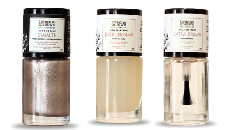 Kit Cappuccino: Esmalte Hipoalergênico Vegano Fortalecedor Capuccino + Base Incolor + Extra Brilho Twoone Onetwo