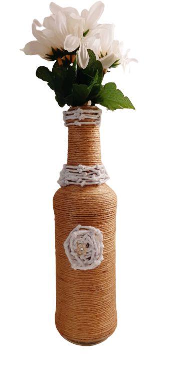 Garrafa decorada pequena Palha e branca