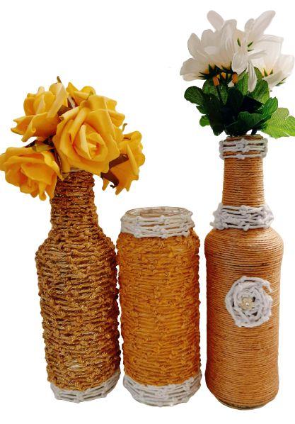 Trio Ouro: 2 Garrafa Decoradas e 1 pote (porta-vela) decorado Nó