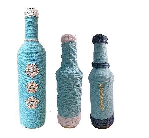 Trio Blue: 3 garrafas decoradas