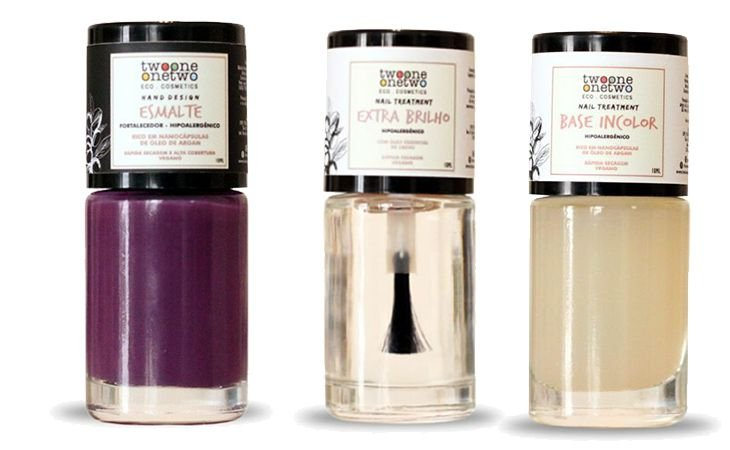 Kit Purple: Esmalte Hipoalergênico Vegano Fortalecedor Purple+ Base Incolor + Extra Brilho Twoone Onetwo