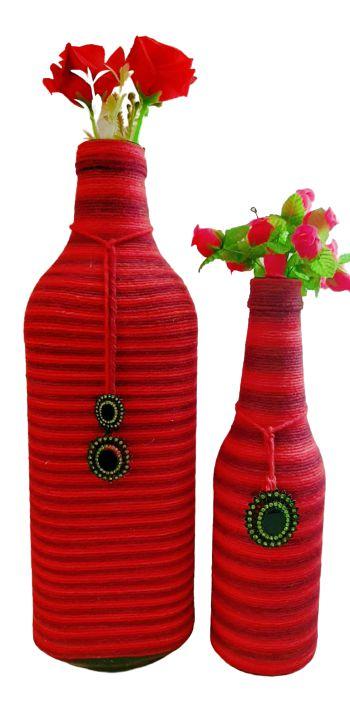 Duo Garrafas Decoradas Vermelha Listras