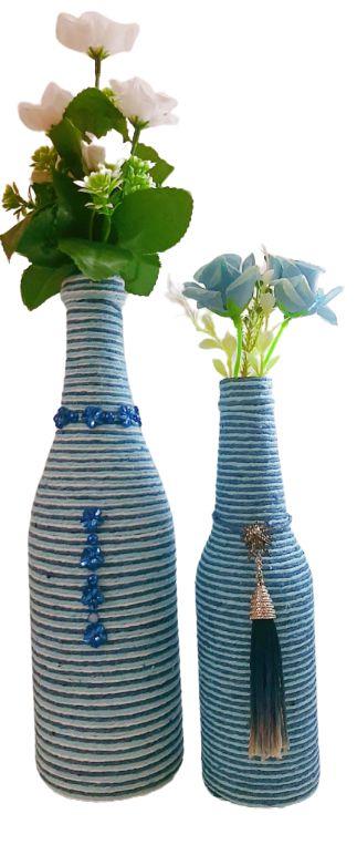 Duo Garrafas Decoradas Listras Azul