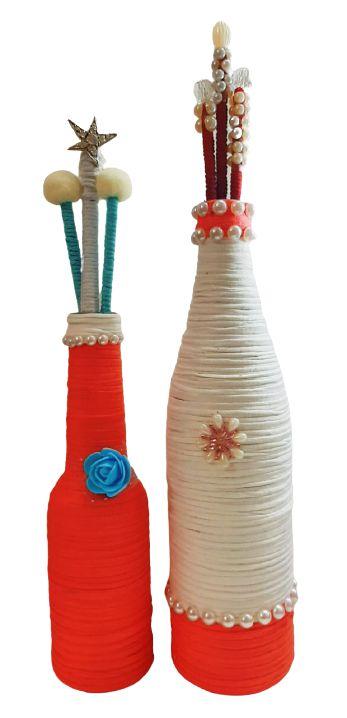 Duo Garrafas Decoradas Coral e Branca com Varetas