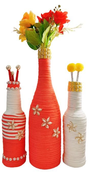 Trio Garrafas Decoradas Malha Coral e Branco