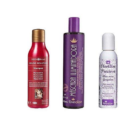 Kit: Shampoo Color Fixation + Máscara Desamareladora + Óleo bifásico Precioso