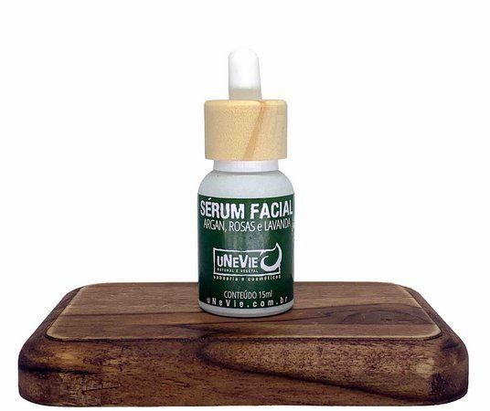 Sérum Facial Argan Orgânico, Rosas e Lavanda, Unevie, 15ml