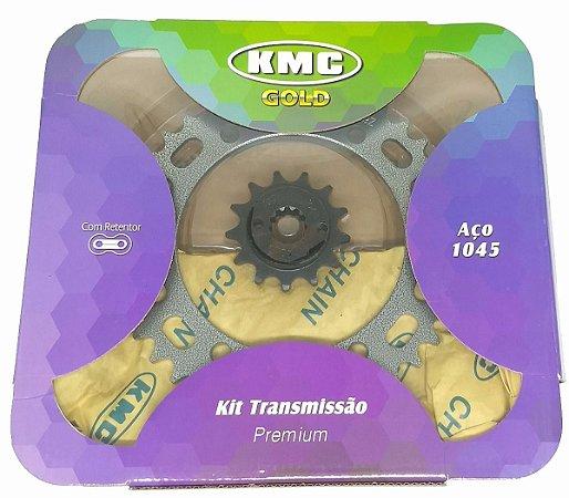 Kit Relação Transmissão Kmc Com  Retentor Aço 1045 Honda Xre 300