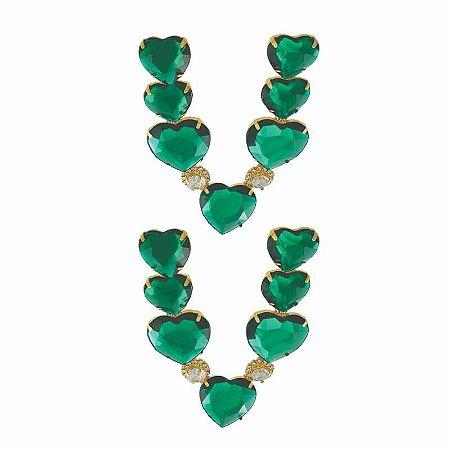 Cabedal Folheado V - Corações Unidos (Verde)