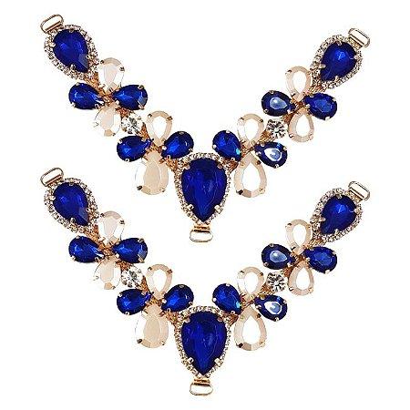 Cabedal V - Joia Chaton Mesclado (Azul Royal)