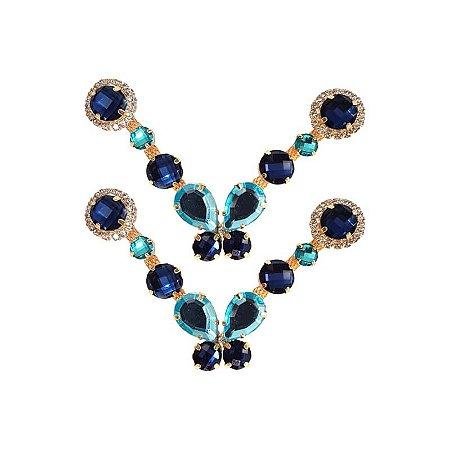 Cabedal Luxo V - Brincadeira de Borboleta Mesclado (Azul Marinho)