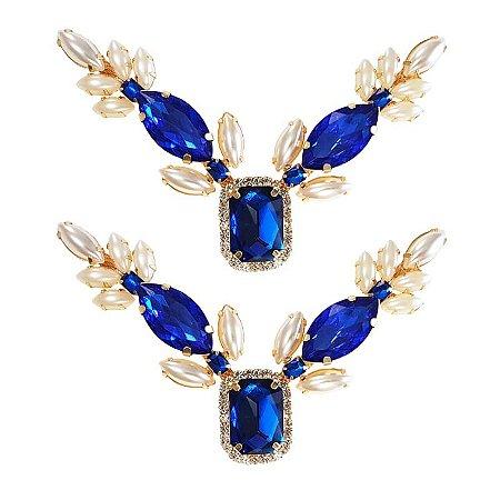 Cabedal Luxo V - Espelho Arabesco Mesclado (Azul Royal e Pérola)