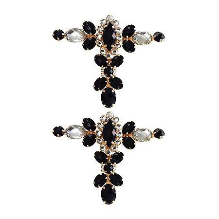 Cabedal Luxo T - Camafeu Strass Mesclado (Preto e Cristal)