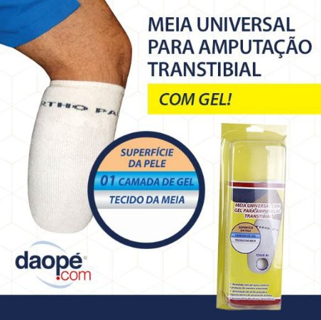 Meia universal com gel para coto transtibial – ortho pauher – ref.: sg701