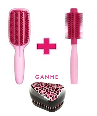 Kit - Blow Styling Half Paddle Pink + Blow Styling Round Tool Small Pink (Ganhe 1 Compact Styler Pink Kity)