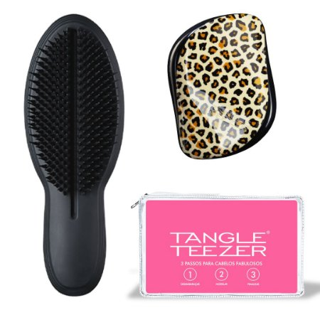 Kit Duo The Ultimate Black + Compact Styler Feline Groovy + Nécessaire Tangle Teezer