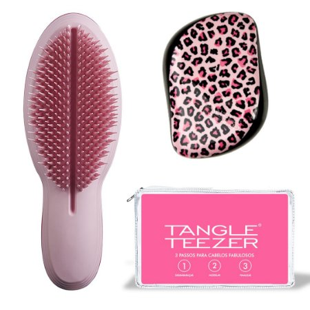 Kit Duo The Ultimate Pink + Compact Styler Pink Kitty + Nécessaire Tangle Teezer