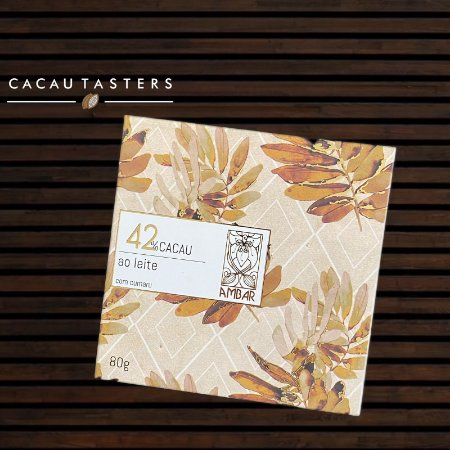 Barra de Chocolate ao Leite 42% Cacau com Cumaru - Ambar Chocolates