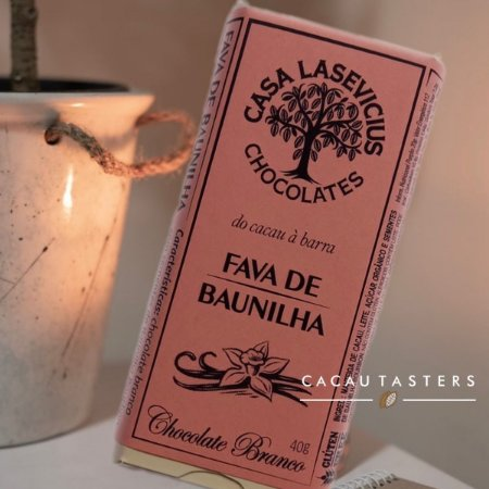 Barra de Chocolate Branco com Fava de Baunilha  - Casa Lasevicius Chocolates