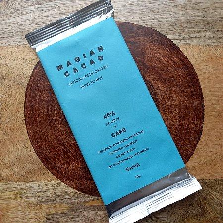 Barra de Chocolate 45% Cacau ao Leite + Café - Magian Cacao