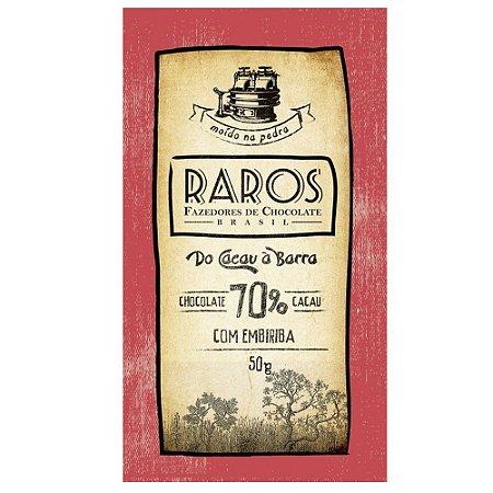 Barra de Chocolate 70% Cacau com Embiriba Raros Fazedores de Chocolate