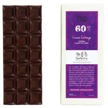 Barra de Chocolate 60% Cacau Catongo Gallette