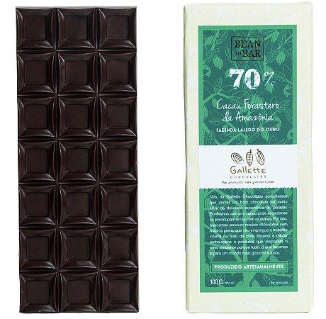 Barra de Chocolate 70% Cacau Forasteiro Gallette
