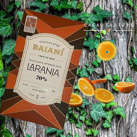 Barra de Chocolate 70% Cacau Trinitário com raspas de Laranja Baianí