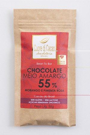 Barra de Chocolate Meio Amargo 55% de Cacau com Morango e Pimenta Rosa - Cuore di Cacao