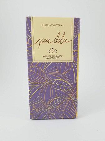 Piu Dolce - Chocolate ao leite 45% de Cacau com Castanhas