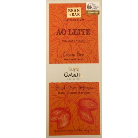 BARRA DE CHOCOLATE AO LEITE 40% CACAU - GALLETTE CHOCOLATES