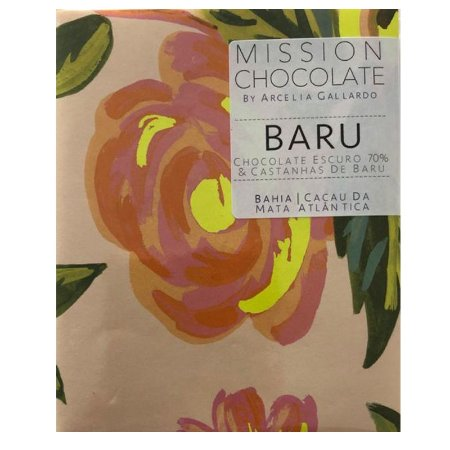 Barra de CHOCOLATE Escuro 70% e CASTANHAS DE BARU – MISSION CHOCOLATES by Arcelia Gallardo