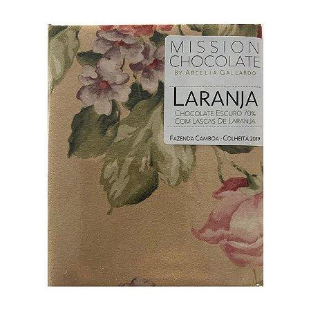 Barra de CHOCOLATE ESCURO 70% COM LASCAS DE LARANJA – MISSION CHOCOLATES by Arcelia Gallardo