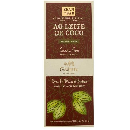 BARRA DE CHOCOLATE AO LEITE DE COCO - GALLETTE CHOCOLATES