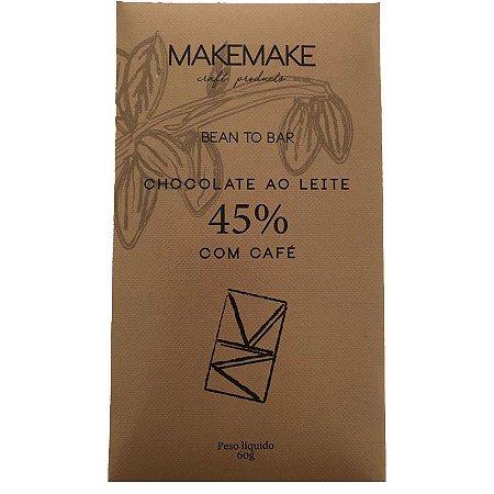 BARRA DE CHOCOLATE 45% CACAU AO LEITE COM CAFÉ - MAKE MAKE