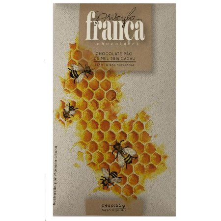Barra de Chocolate Pão de Mel 38% Cacau - Priscila França Chocolates