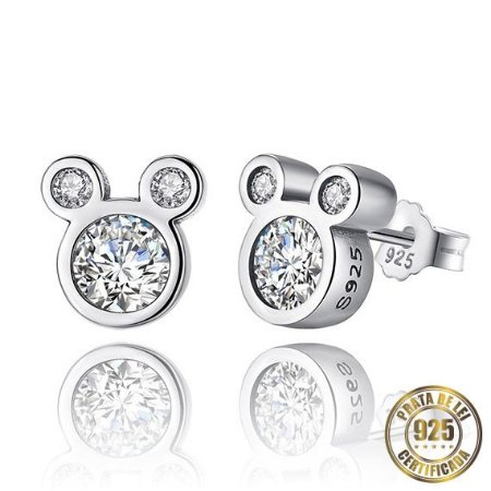 Brincos de Prata Mickey Pedra de Zircônia