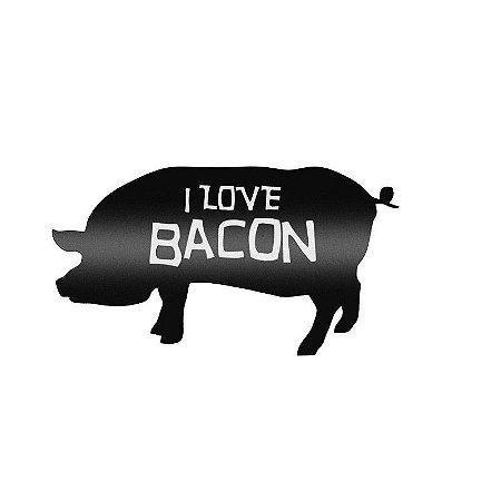 Placa Laqueada em Relevo I Love Bacon