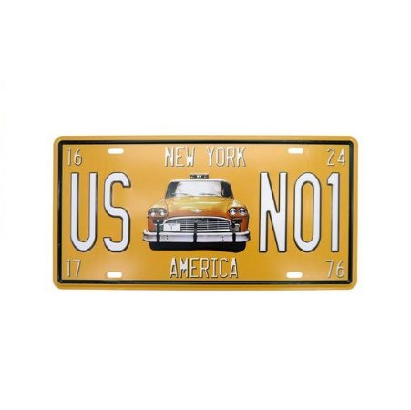 Placa de Metal Relevo Táxi New York Retrô