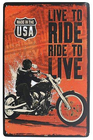Placa de Metal Relevo Harley Davidson Live