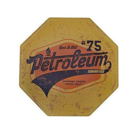 Placa de Metal Relevo Petroleum Retrô