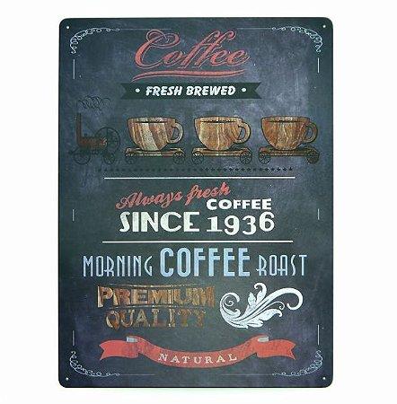 Placa de Metal Relevo Coffee