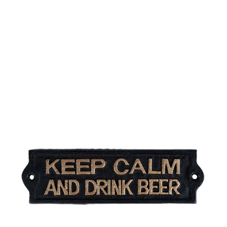 Placa Ferro Keep Calm Beer Preto 20,4 x11,5 Cm