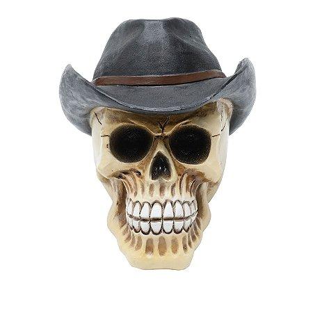 Crânio Caveira Resina Cowboy