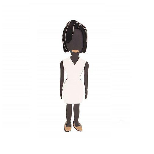 Adorno Boneca Michelle Obama 3D Mdf Laqueado