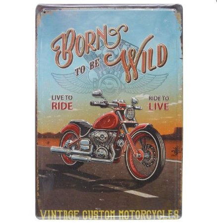 Placa de Metal Rústico Moto Vintage