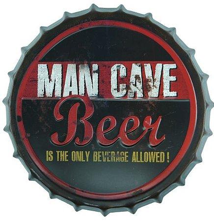 Placa Metal Cave Beer Formato Tampa Alto Relevo